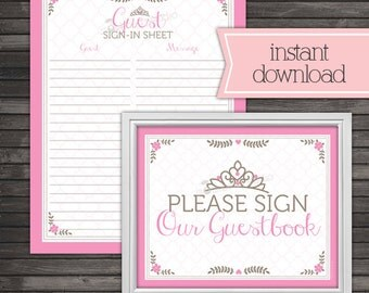 Princess Baby Shower Guest Book Sign In Printable - Instant Download - Tiara Girl Baby Shower Guestbook Sign In Sheet - Pink Baby Shower