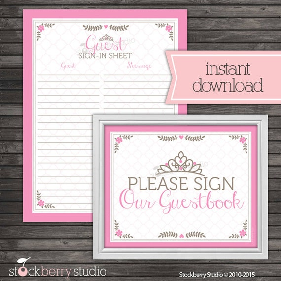 princess baby shower guest book sign in printable instant download