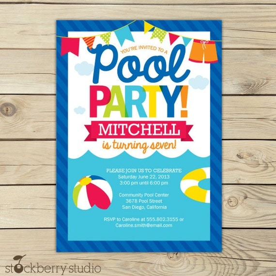 Pool Party Invitation Printable Girl Pool Party Summer