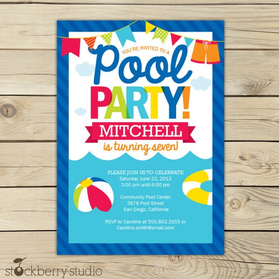 Pool Party Invitation Printable Girl Pool Party Summer – Pool Party Invitations