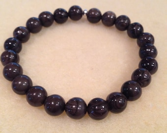 Coffee Jasper 8mm Round Bead Bracelet with Sterling Silver Accent