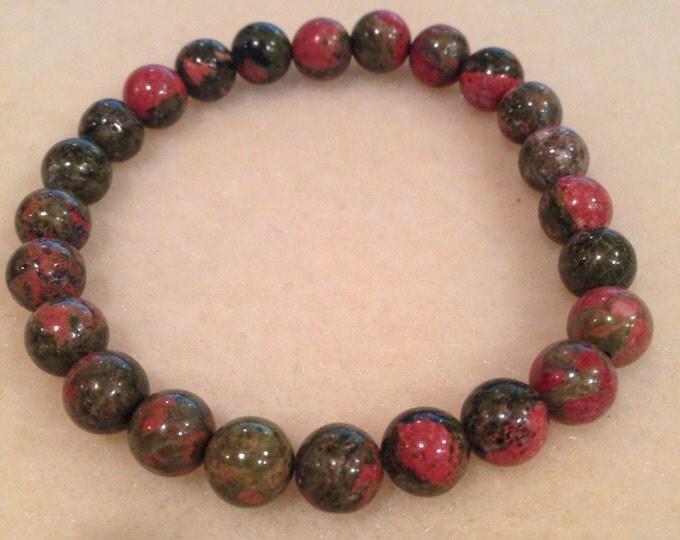 Unakite Lily Pond Jasper 8mm Round Bead Stretch Bracelet for Fertility, Labor, Romance, Business Success, Illness & Detox