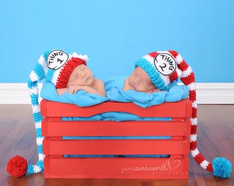 Thing 1 and Thing 2 Hats, Thing 3 and Thing 4 Hats, Halloween Costume, Dr Suess,  Disney, Newborn to 6 Months, Photo Props, Baby Hats, Twins