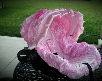 Baby Car Seat Cover 3d Rose Pretty In Pink With Flower And Ruffle Infant
