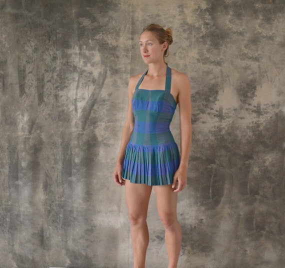 1950s Peck and Peck Plaid Swimsuit size S