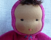 RESERVED FOR LISE Small Sweet Pea Waldorf Doll 9 inch Fuchsia Velour