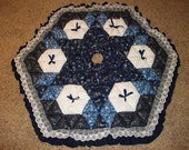 Christmas Tree Skirt - Biscuit Quilted - Silver on Blue and White
