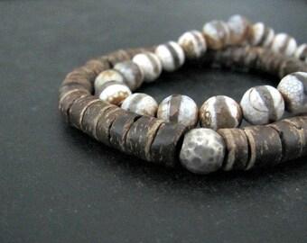 Coconut Wood Bracelet | Bohemian Bracelet | Natural Wood Bracelet | Rustic Beaded Bracelet | Coconut Shell Heishi Bracelet | Unisex Bracelet