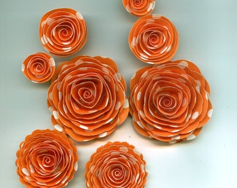 Mango Polka Dot Handmade Spiral Paper Flowers Orange and White