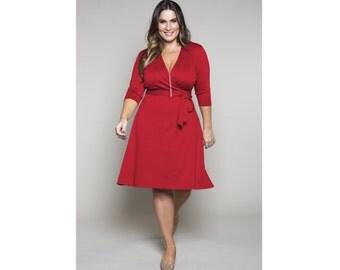 Classic Wrap Dress A-Line Ponte 4 Lengths Misses & Plus Sizes 2-28