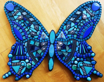 """CUSTOM MOSAIC Butterfly - Your Color Choice - This One is Blues & Teals w Glass, Gems, Tiles and Silver Embellishments  (14""""x12"""")  OOAK!!"""