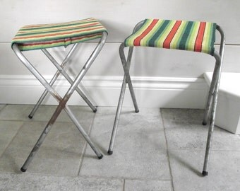 Camp Stools | Folding Metal Stools | Vintage Outdoor Camping Stools | Fishing Stools | Pair of Portable Fold Up Stools Cloth Sits
