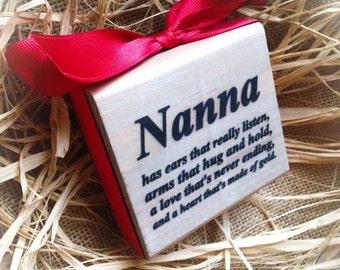 Nanna Sign ,4x4 in Wood Block , Personalize , Gigi Mimi Nana Meme Grammy
