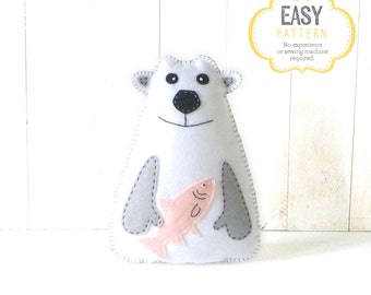 Polar Bear Sewing Pattern, Pattern for Hand Sewing a Polar Bear, Felt Stuffed Animal Pattern, Polar Bear Softie