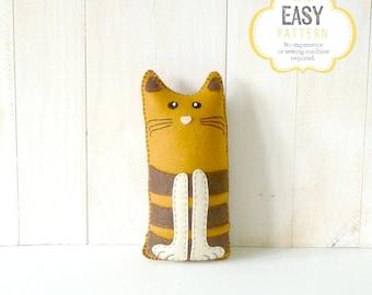 Cat Stuffed Animal Sewing Pattern, Stuffed Cat Felt Plushie Pattern, Cat Softie Pattern, Plush Cat Pattern, PDF
