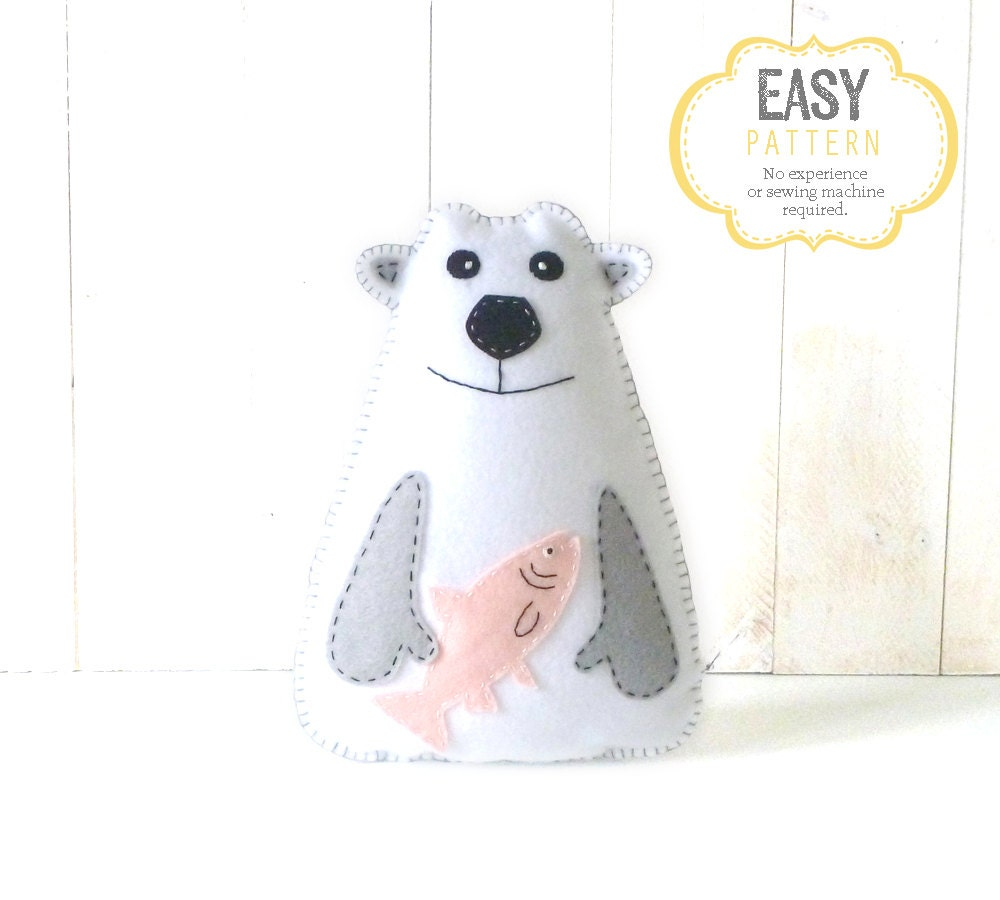 Polar bear sewing pattern pattern for hand sewing a polar zoom jeuxipadfo Choice Image
