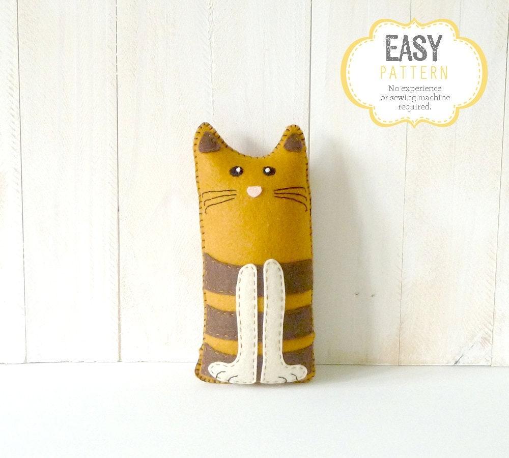 Cat stuffed animal sewing pattern stuffed cat felt plushie - Cat clothing patterns free ...