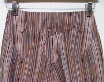 Vintage 1950s Pants / RARE 50s Levi Strauss Brown Striped Cotton Ranch Pants / 24 Waist