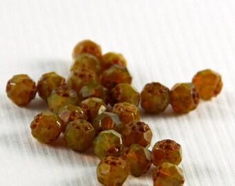 Czech Renaissance Glass Beads Milky Topaz Picasso 6mm- 25 beads