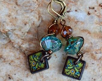 Turquoise and Handmade Green Yellow Tile Earrings