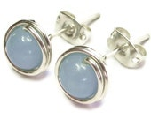 Angelite and Sterling Silver Post Earrings