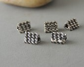 SALE Thai Sterling Silver Beads, 5 Beads, Textured Triangle Beads, Silver Triangles, Artisan Jewelry