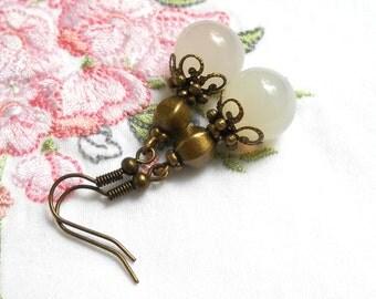 white agate dangle earrings stone earrings white agate beads bronze boho earrings dangle