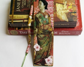 Bookmark Gift, Japanese Woman in Kimono - Handmade Bookmark with Tassel, Reading, Book Lover's Gift - Teacher Appreciation - Bookmarks