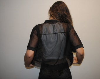 Black Mesh Crop Top / Oversized / Mesh Top / Short Sleeve / Handmade by GAG THREADS