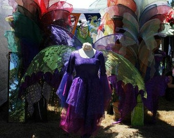 Lifesize Adult Royal PURPLE FAiRY WiNGS butterfly l elf Mardi Gras Parade Fat Tuesday Faerie Elf Costume larp gown dress up goddess festival