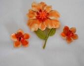 Price Slashed Orange Flower Pin and Earrings Set