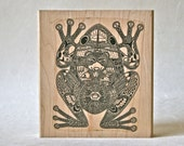 Large Detailed Frog Rubber Stamp with Native American Images for Card Making, Decor and More