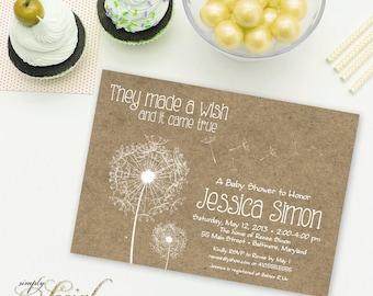 Dandelion Baby Shower Invitation Gender Neutral Kraft Paper