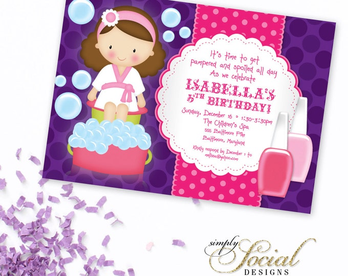 Kid's Spa Birthday Party Invitation - Manicure Invitation Pedicure Nail Polish Printable
