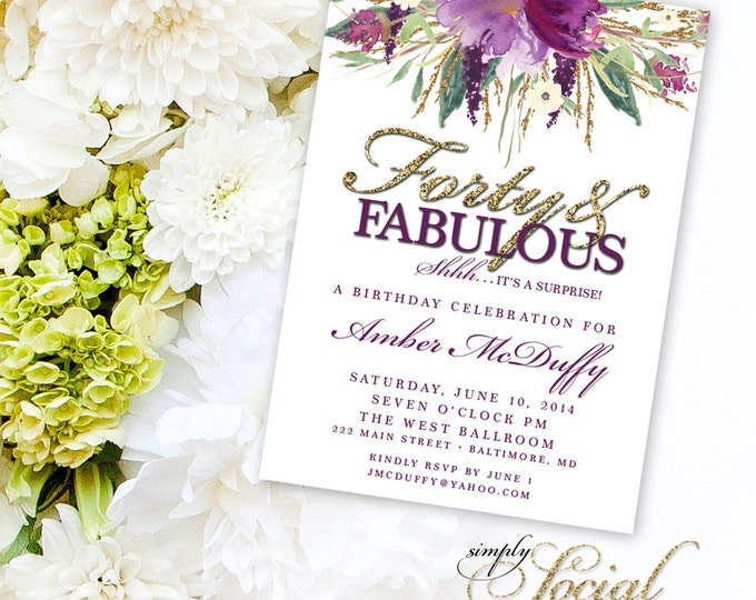 Glitter Glam Sparkling Amethyst Purple Watercolor Flowers Forty and Fabulous Invitation Printable 40th birthday