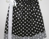 "Girls' Pillowcase Dress - 20"" Black with White Dots and Contrast Band OR Custom Made - Other Patterns Available"