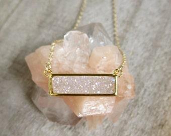 Natural White AB Druzy Necklace, Titanium Druzy Quartz Necklace, Gemstone Bar Necklace, Layering Necklace, Druzy Quartz Jewelry
