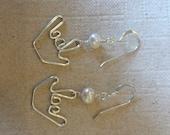 american sign language ILY salt water pearls earrings