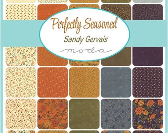 "Moda Perfectly Seasoned Charm Pack, (42) 5"" Quilt Fabric Squares Sandy Gervais  Fall Fabric Quilting Sewing"