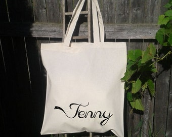Bridesmaid Tote - Flower Girl Tote - Personalized Names on Canvas Totes