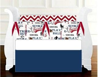 Sports Baby Boy Crib Bedding, Sports America Red Blue, Football / Baseball / Soccer