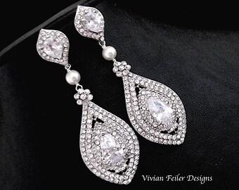 Wedding Earrings Bridal Glamorous Wedding Jewelry Bling Cubic Zirconia Prom Earrings Wedding Jewellery