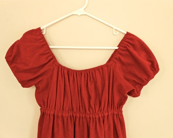 1970s Vintage Ruby Red Dress Empire Cinched Waist Square Neckline 70s by Byer of California