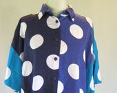 Shades of Blue Polka Dot Shirt Top