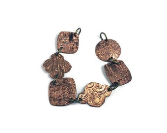 Copper bracelet flowers, circles, geometric shapes precious metal clay copper