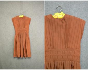1940s Junior First Brown Dress