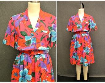 1980s Kay Windsor Tropical Print Dress