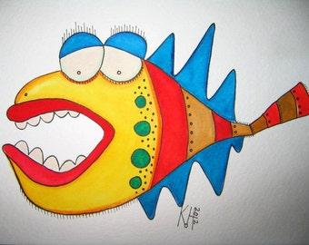 Fish Watercolor J5, Original Watercolor Painting, by Fig Jam Studio
