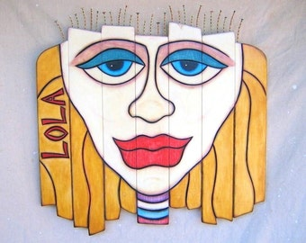 Lola, Original LARGE Wood Sculpture, Pop Art, Wall Decor, Wood Carving, Wall Art, by Fig Jam Studio