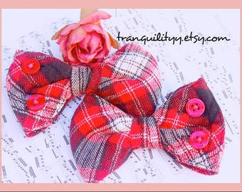 Flannel Hair Bow , Plaid Flannel Up Cycle Hair Bows , Sleeves Repurposed ,Preppy, Cosplay, Rave, Scene, Gothic, Charmed Desire Hair Play